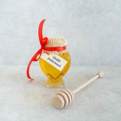 Miód akacjowy plus drewniana pałka do miodu