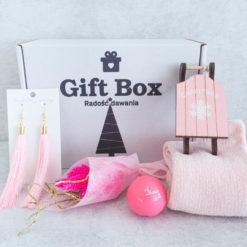 """Świąteczny Gift Box """"Różowe sanki"""""""