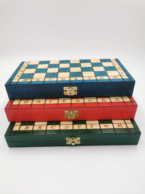 Szachy drewniane ręcznie robione 29 cm zielone